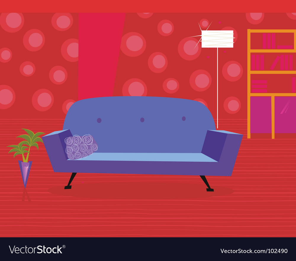 Living room in retro style vector | Price: 1 Credit (USD $1)