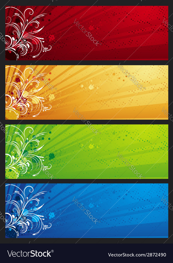 Modern banners with floral ornament vector | Price: 1 Credit (USD $1)