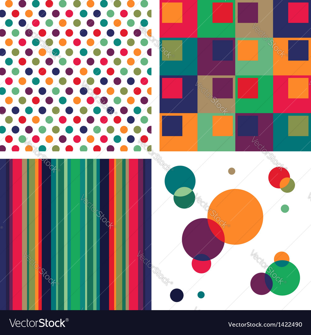Retro colorful pattern combo vector | Price: 1 Credit (USD $1)