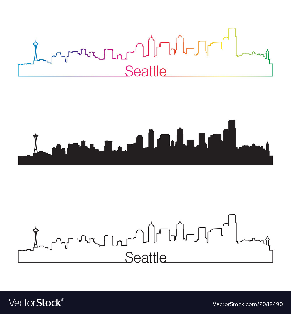 Seattle skyline linear style with rainbow vector | Price: 1 Credit (USD $1)