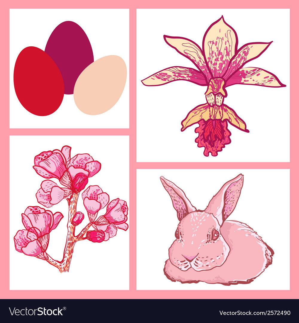 Set of easter rabbit eggs spring flowers vector | Price: 1 Credit (USD $1)