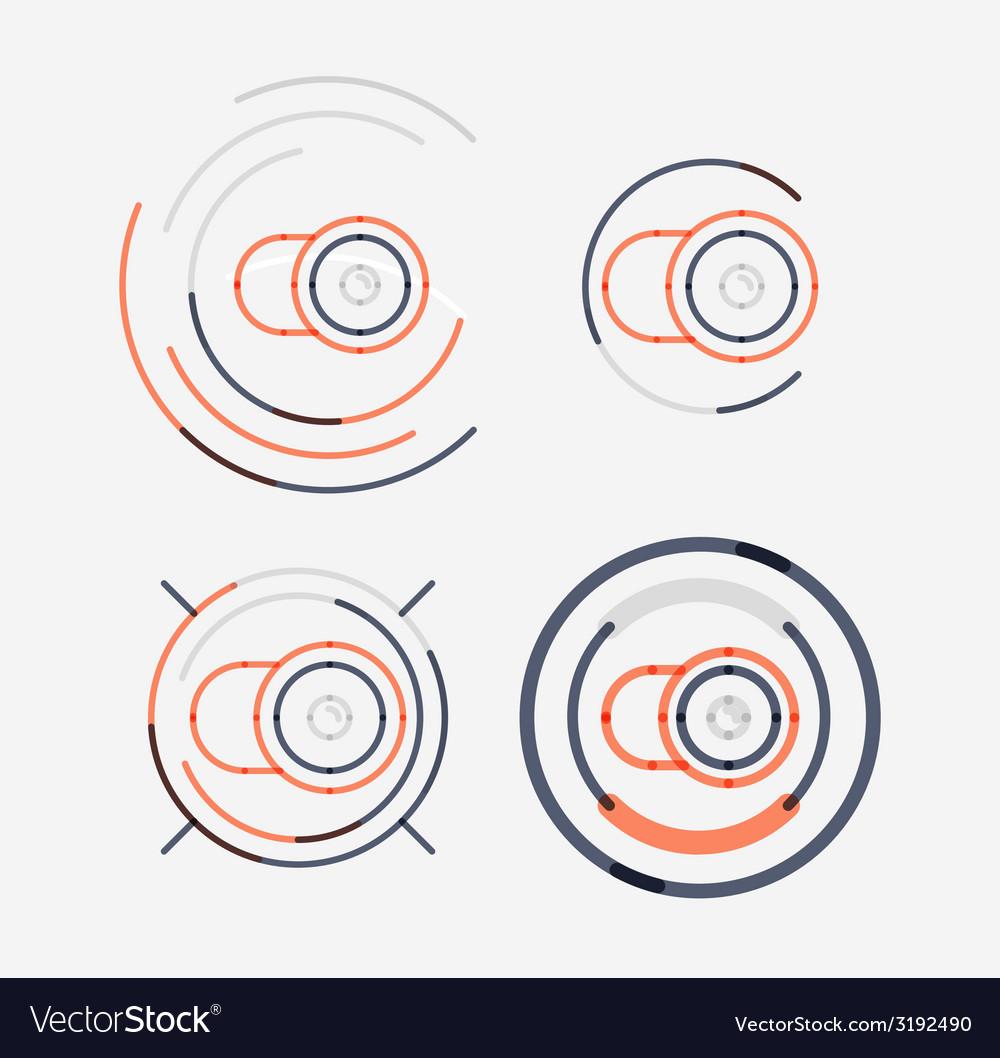 Thin line neat design logo set camera concept vector   Price: 1 Credit (USD $1)