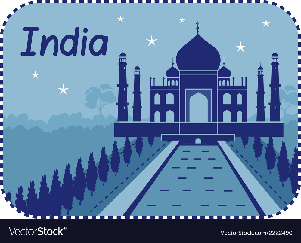 With taj mahal in india vector | Price: 1 Credit (USD $1)