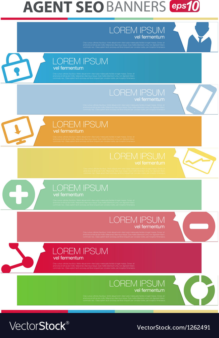 Agent seo banners set vector | Price: 1 Credit (USD $1)
