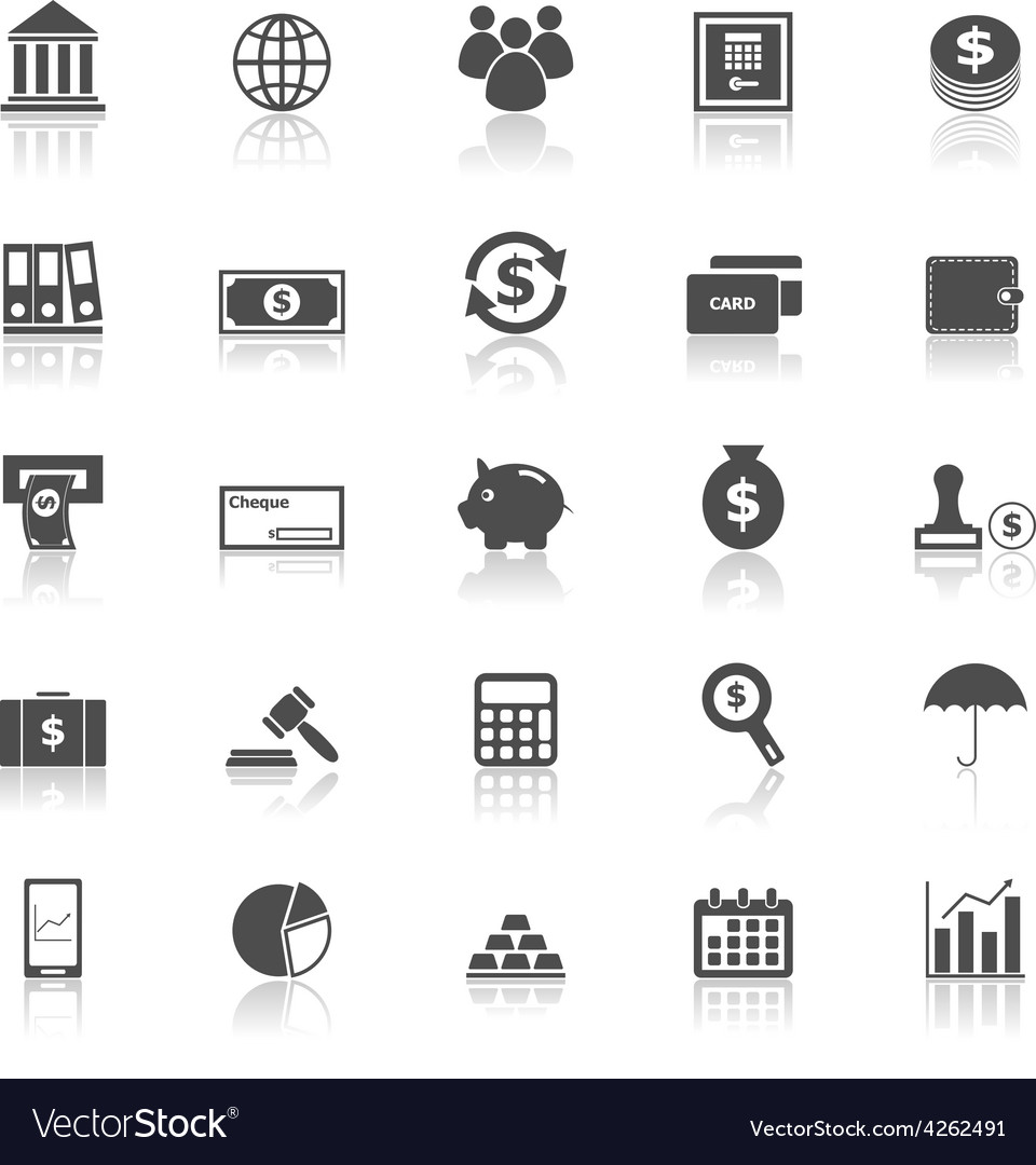 Banking icons with reflect on white background vector | Price: 1 Credit (USD $1)
