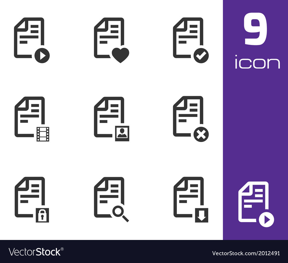 Black documents icons set vector | Price: 1 Credit (USD $1)