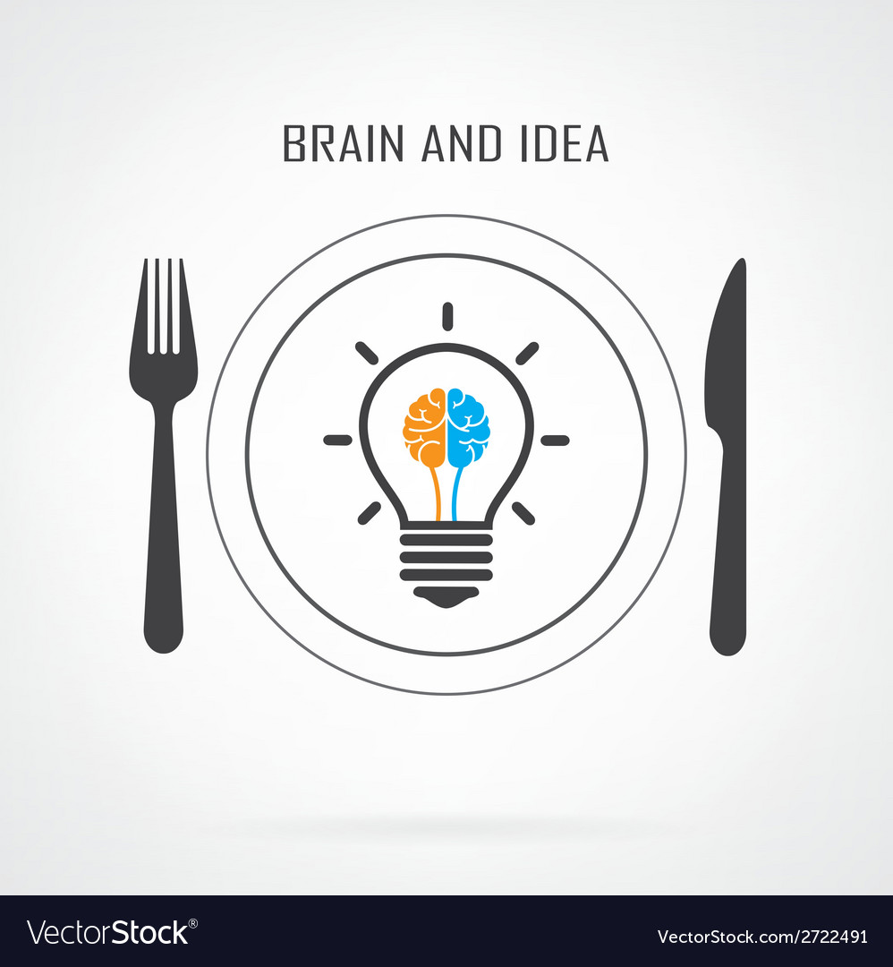 Creative light bulb idea and brain concept backgro vector | Price: 1 Credit (USD $1)