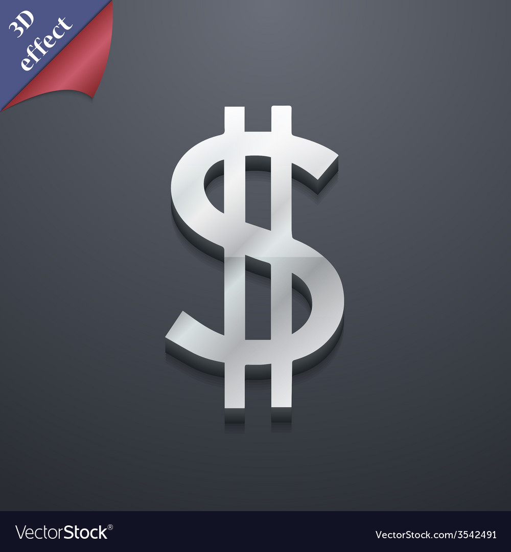 Dollars icon symbol 3d style trendy modern design vector | Price: 1 Credit (USD $1)