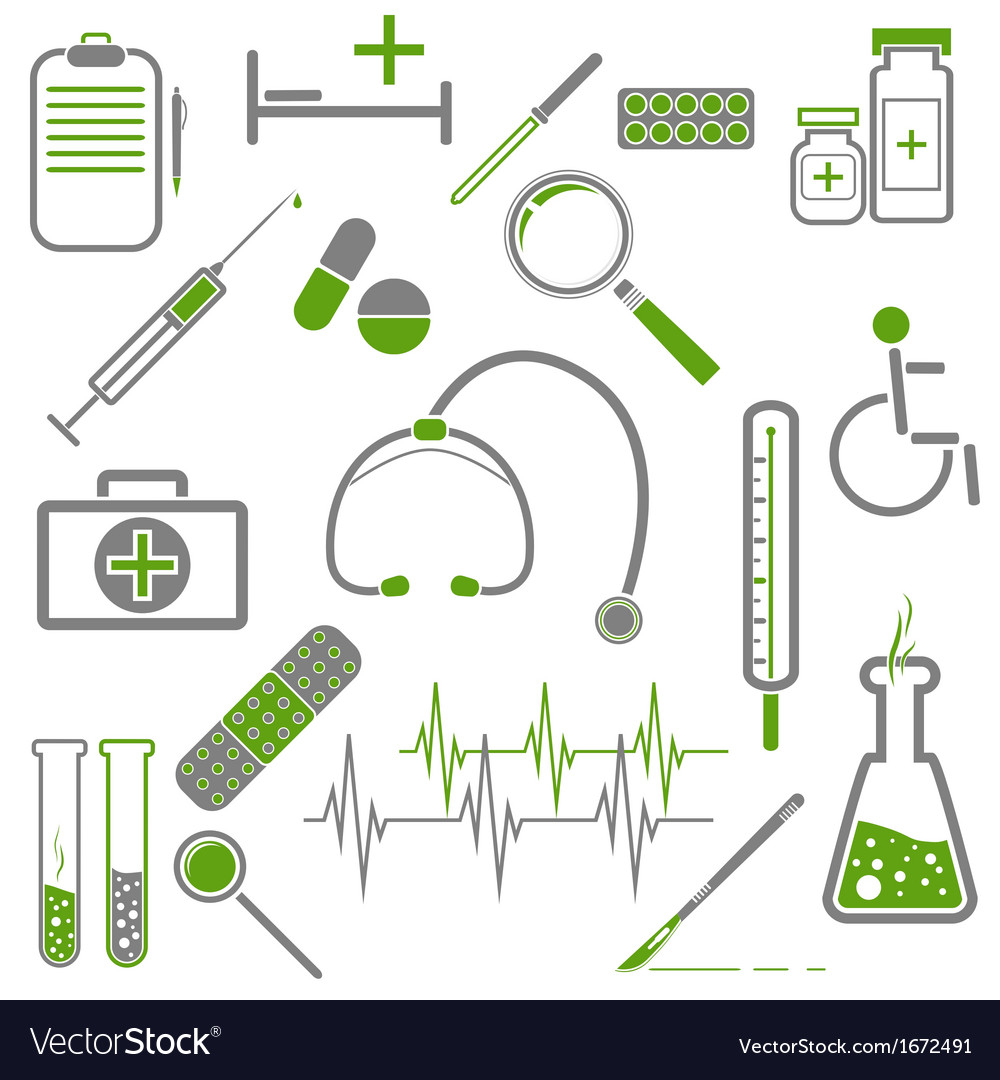 Medical green icons vector | Price: 1 Credit (USD $1)