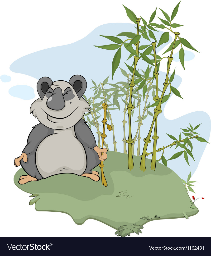 Panda and bamboo wood vector | Price: 1 Credit (USD $1)