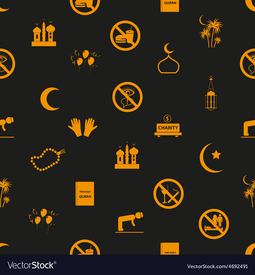 Ramadan islam holiday icons seamless pattern eps10 vector | Price: 1 Credit (USD $1)