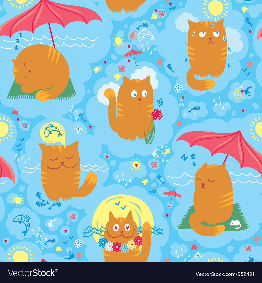 Seamless cute summer cats vector | Price: 3 Credit (USD $3)