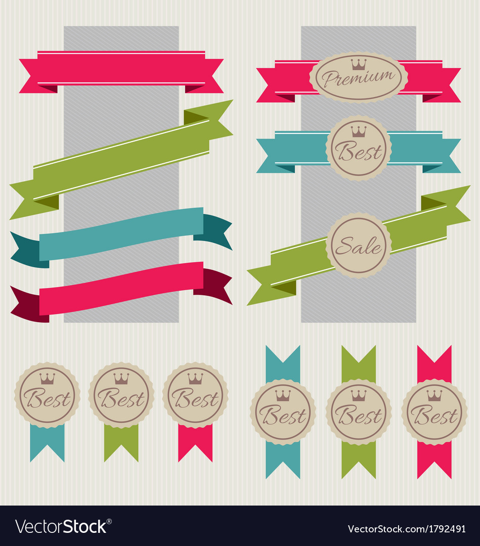 Set of stickers ribbons and banners vector | Price: 1 Credit (USD $1)