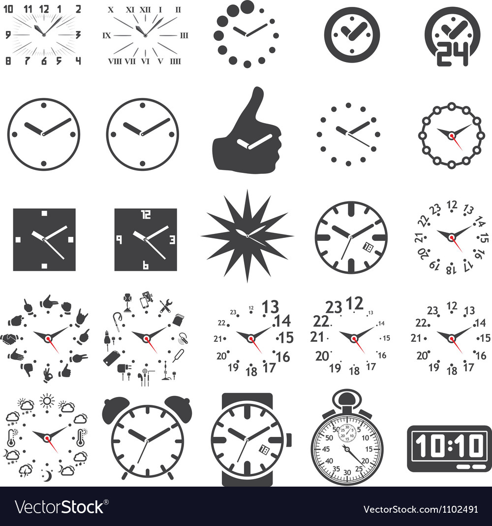 Set of watch icons vector | Price: 1 Credit (USD $1)