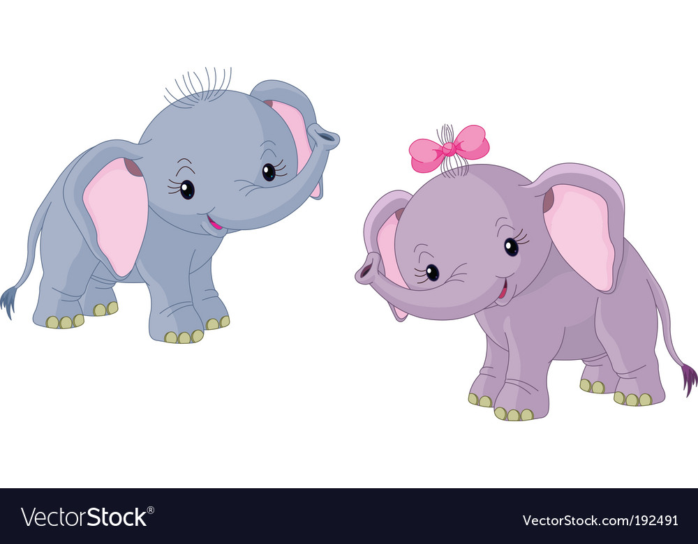 Two babies elephants vector | Price: 3 Credit (USD $3)