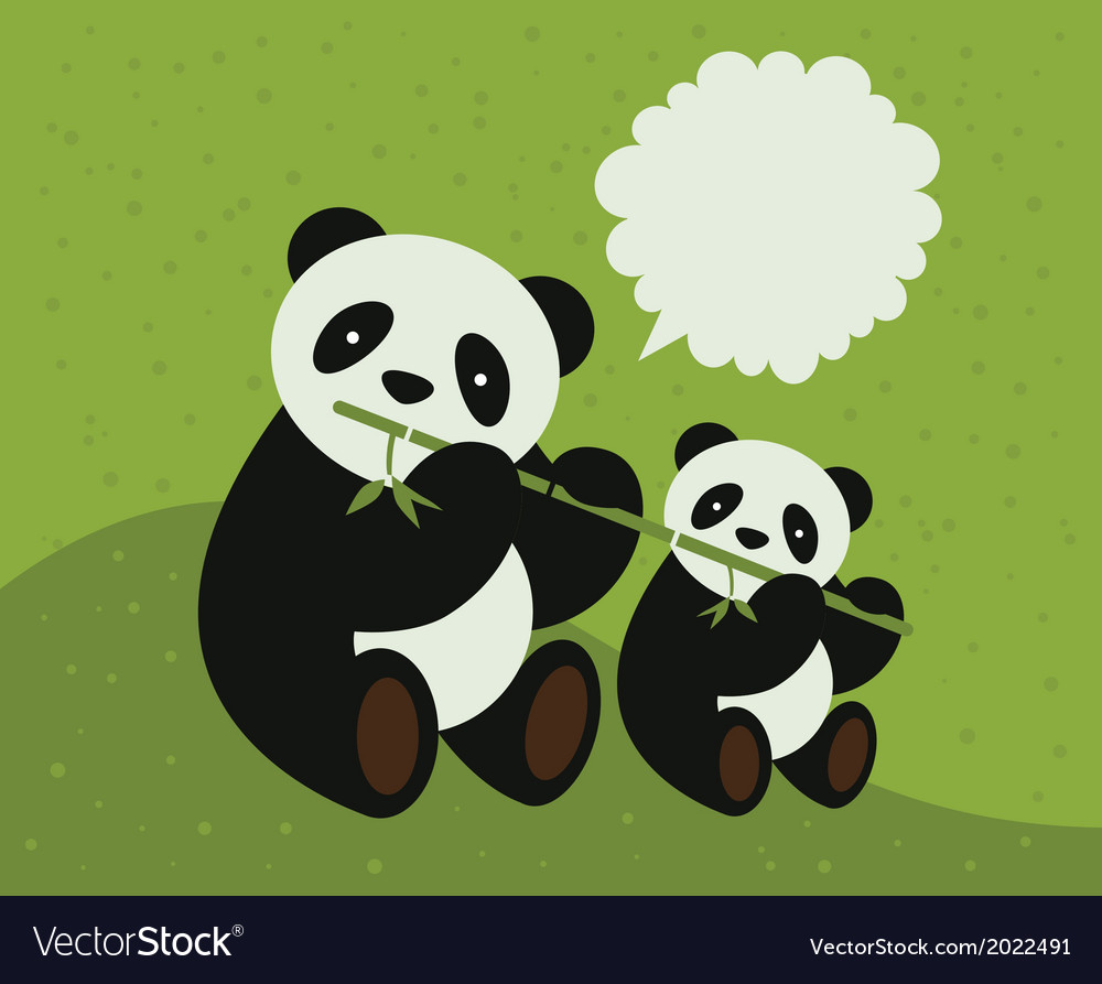 Two pandas vector | Price: 1 Credit (USD $1)
