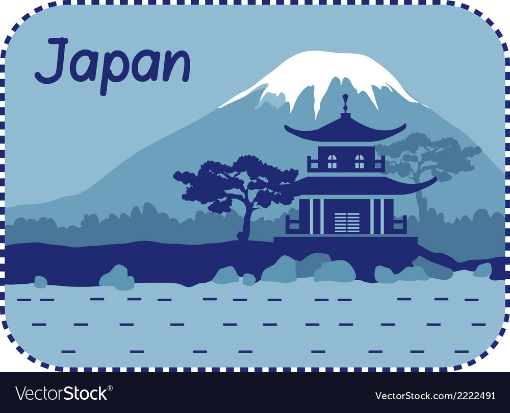 With pagoda and mount fuji in japan vector | Price: 1 Credit (USD $1)