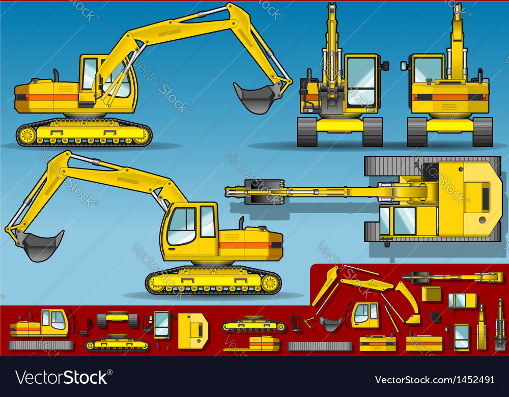Yellow excavator in five orthogonal position vector | Price: 1 Credit (USD $1)