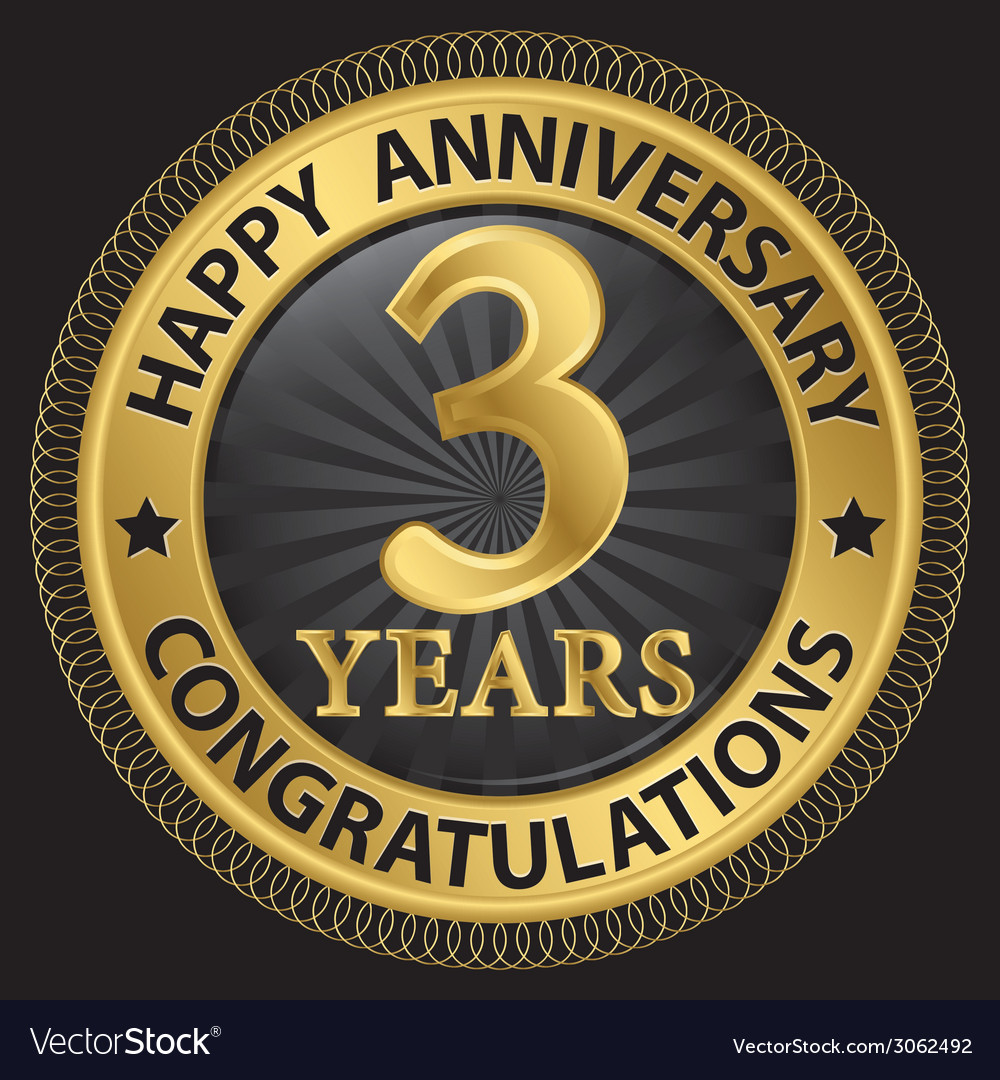 3 years happy anniversary congratulations gold vector | Price: 1 Credit (USD $1)