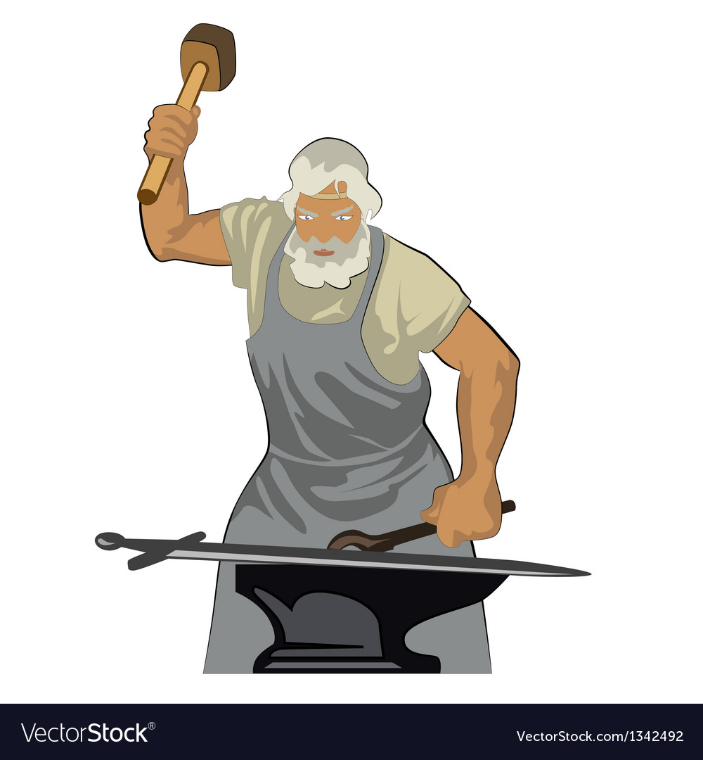 A blacksmith forges sword 01 vector | Price: 1 Credit (USD $1)