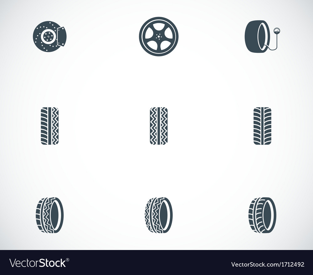Black tire icons set vector | Price: 1 Credit (USD $1)
