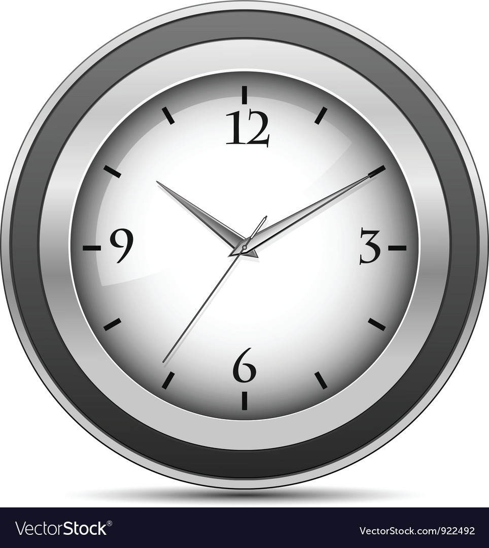 Chrome office clock vector | Price: 1 Credit (USD $1)