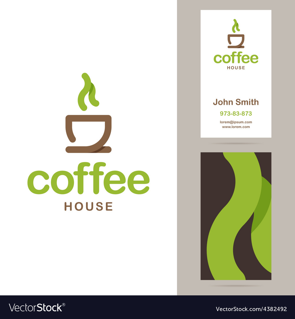Coffee house logo and business card templates vector | Price: 1 Credit (USD $1)