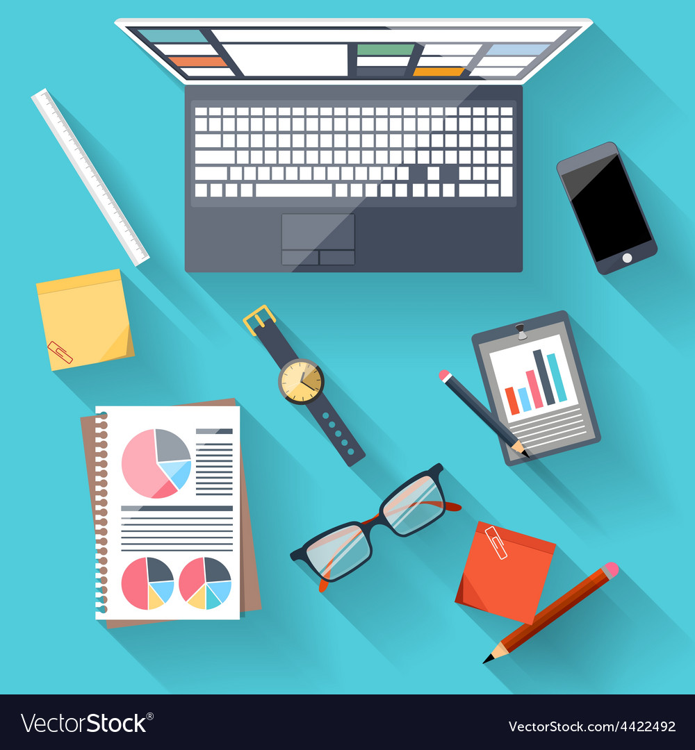 Concept of business team workplace vector | Price: 1 Credit (USD $1)