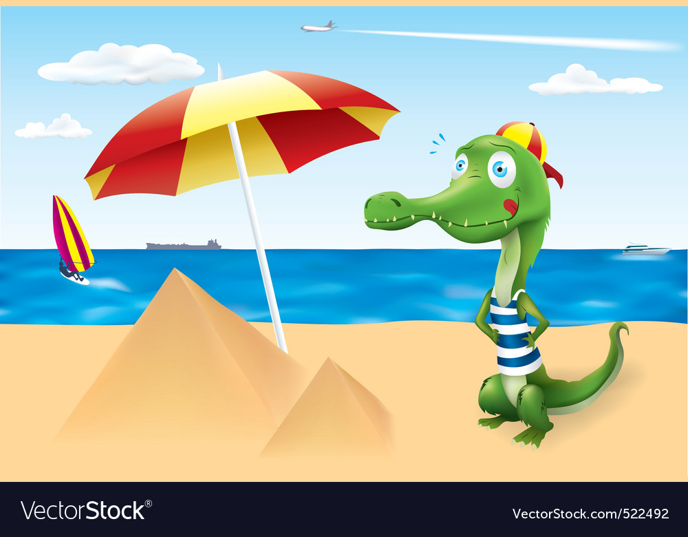 Funny crocodile vacation vector | Price: 1 Credit (USD $1)