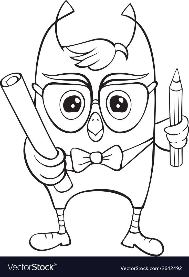 Funny scientific owlet vector | Price: 1 Credit (USD $1)
