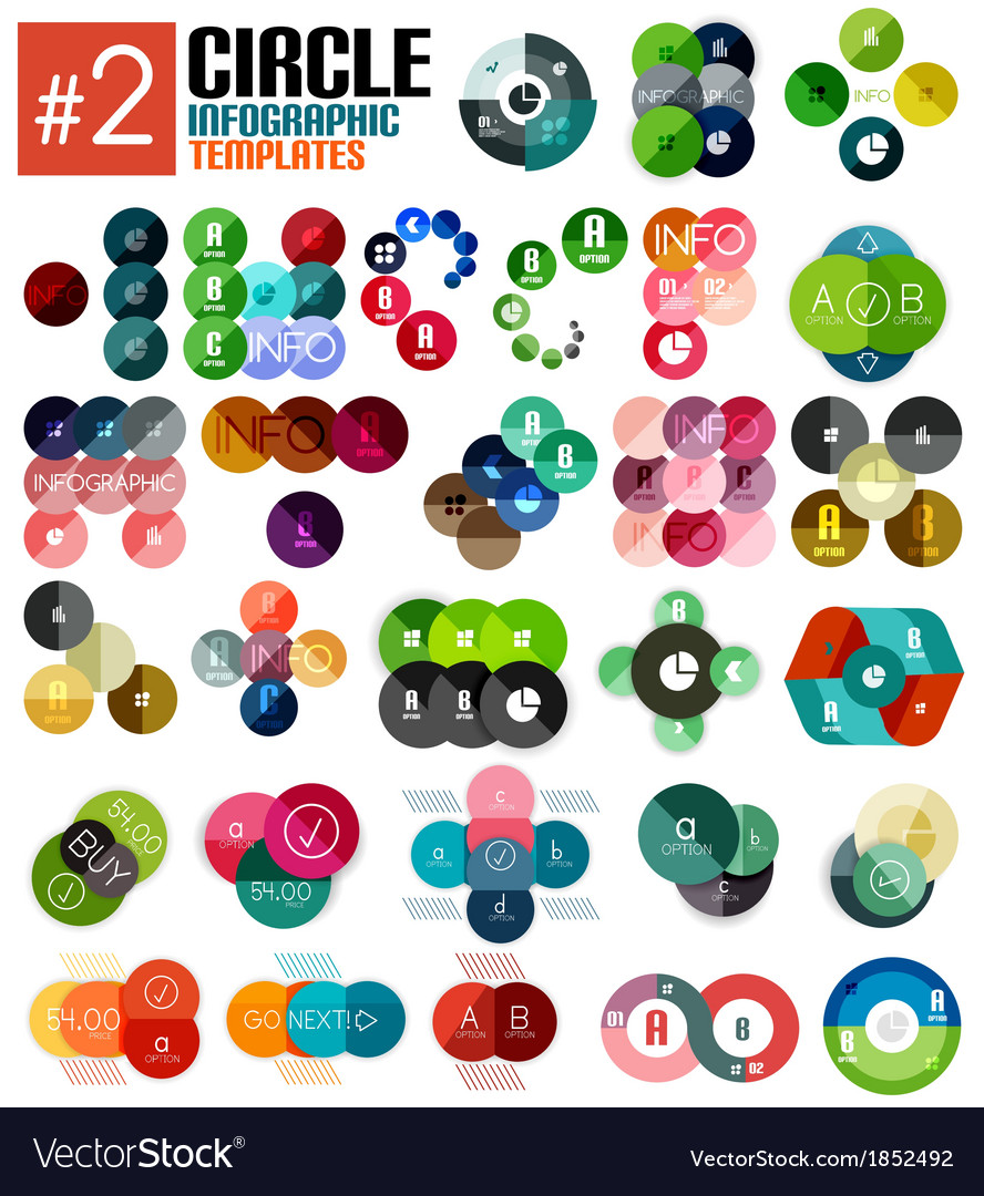 Huge set of circle infographic templates 2 vector | Price: 1 Credit (USD $1)