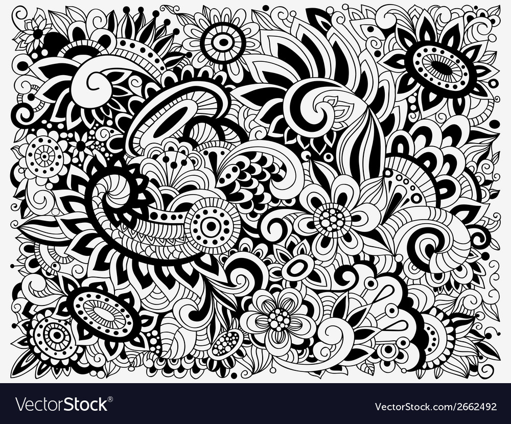 Monochrome doodle floral pattern vector | Price: 1 Credit (USD $1)