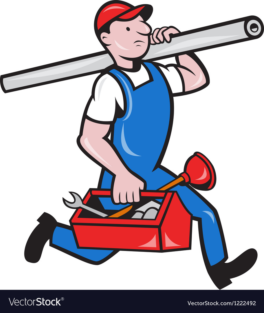 Plumber with pipe toolbox cartoon vector | Price: 1 Credit (USD $1)