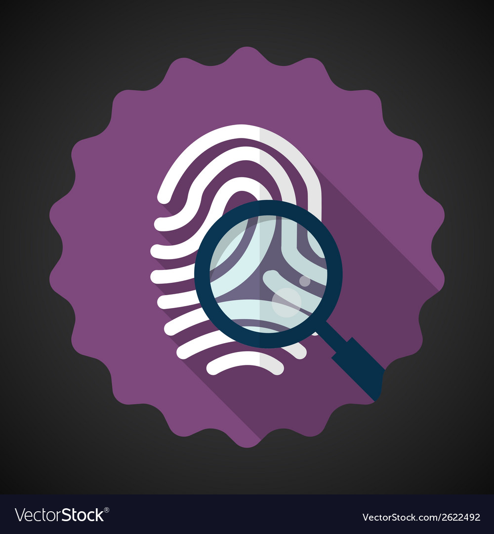 Police fingerprint with zoomer flat icon vector | Price: 1 Credit (USD $1)