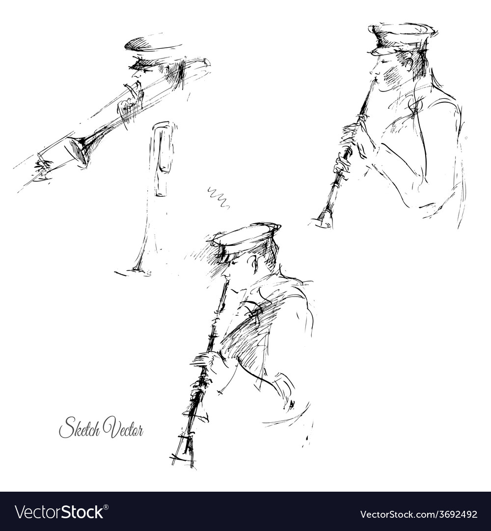 Sketch of flutist vector   Price: 1 Credit (USD $1)