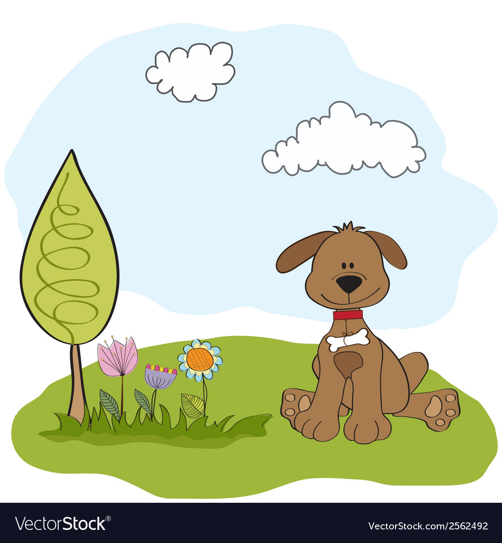 Spring greeting card with dog vector | Price: 1 Credit (USD $1)