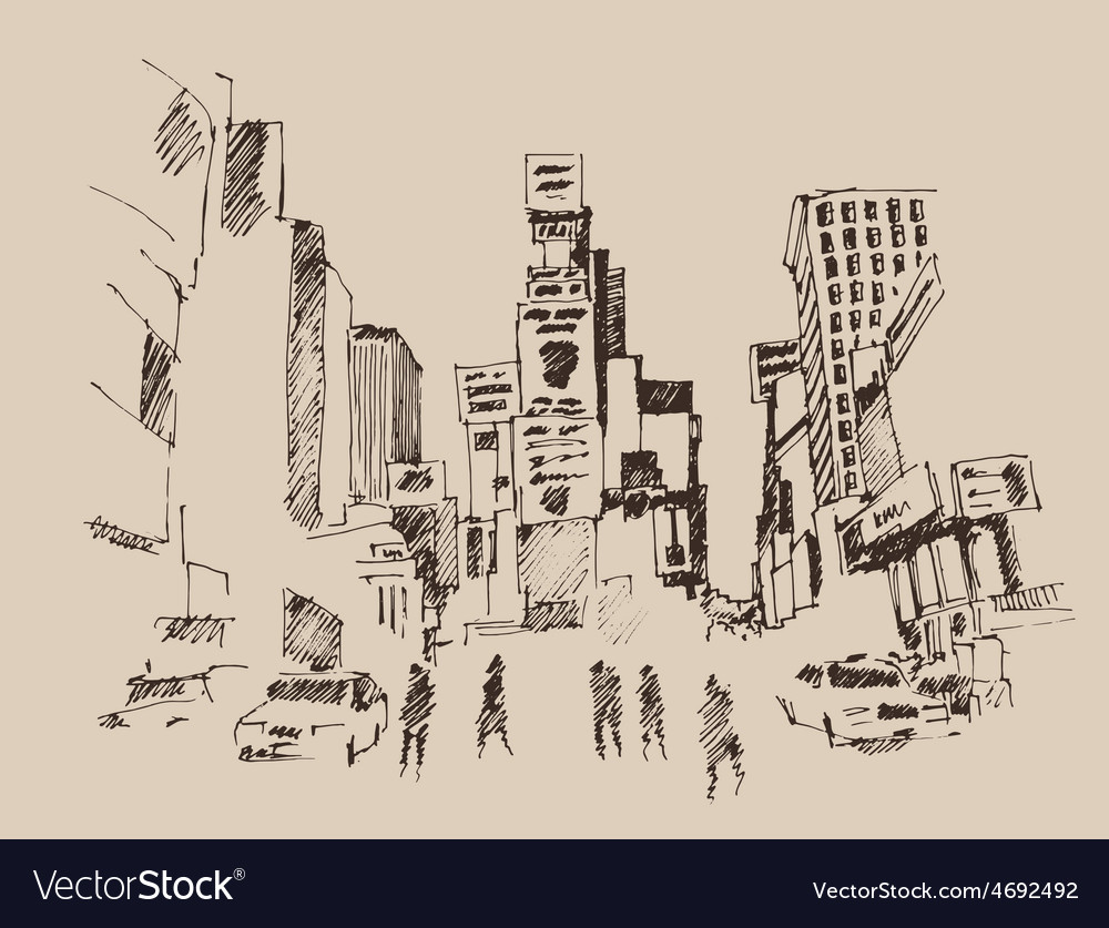 Times square street in new york city engraving ve vector | Price: 1 Credit (USD $1)
