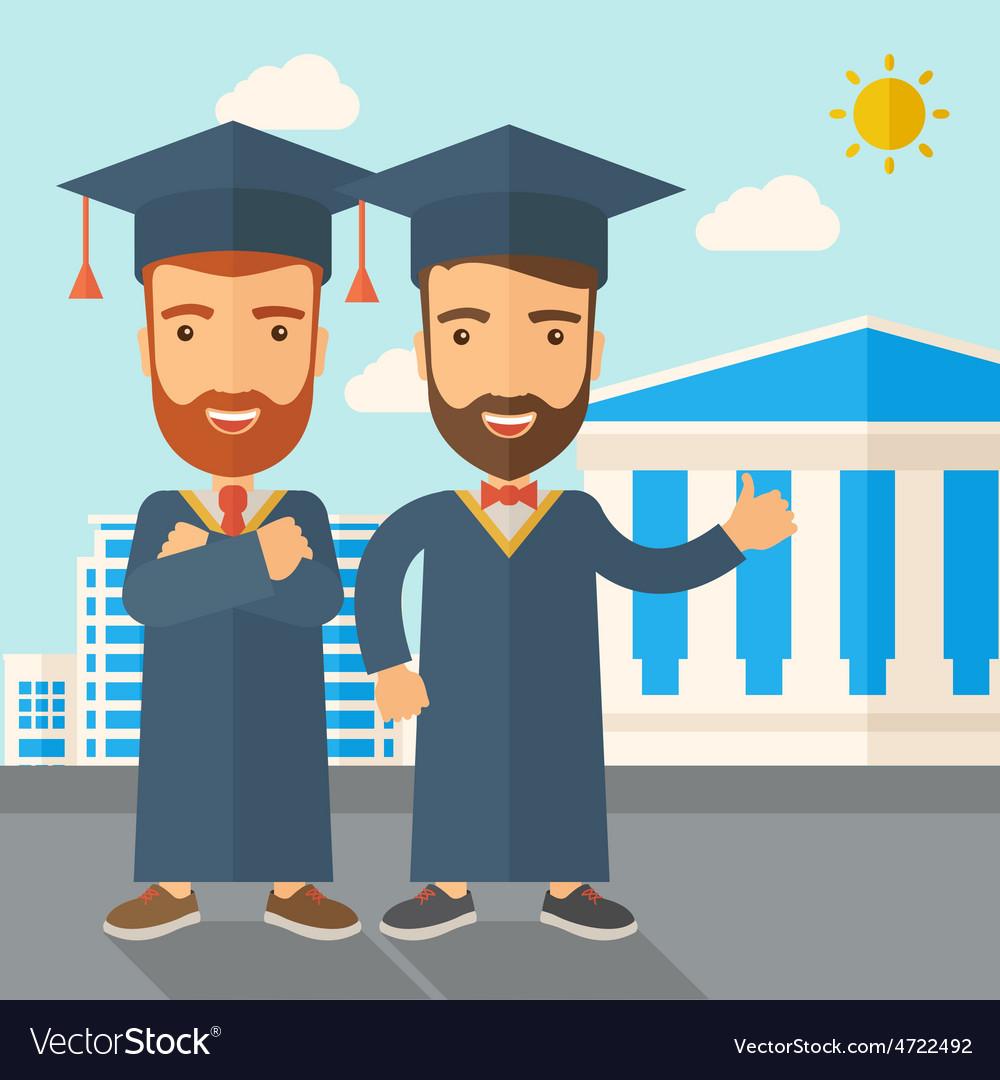 Two men wearing graduation cap vector   Price: 1 Credit (USD $1)