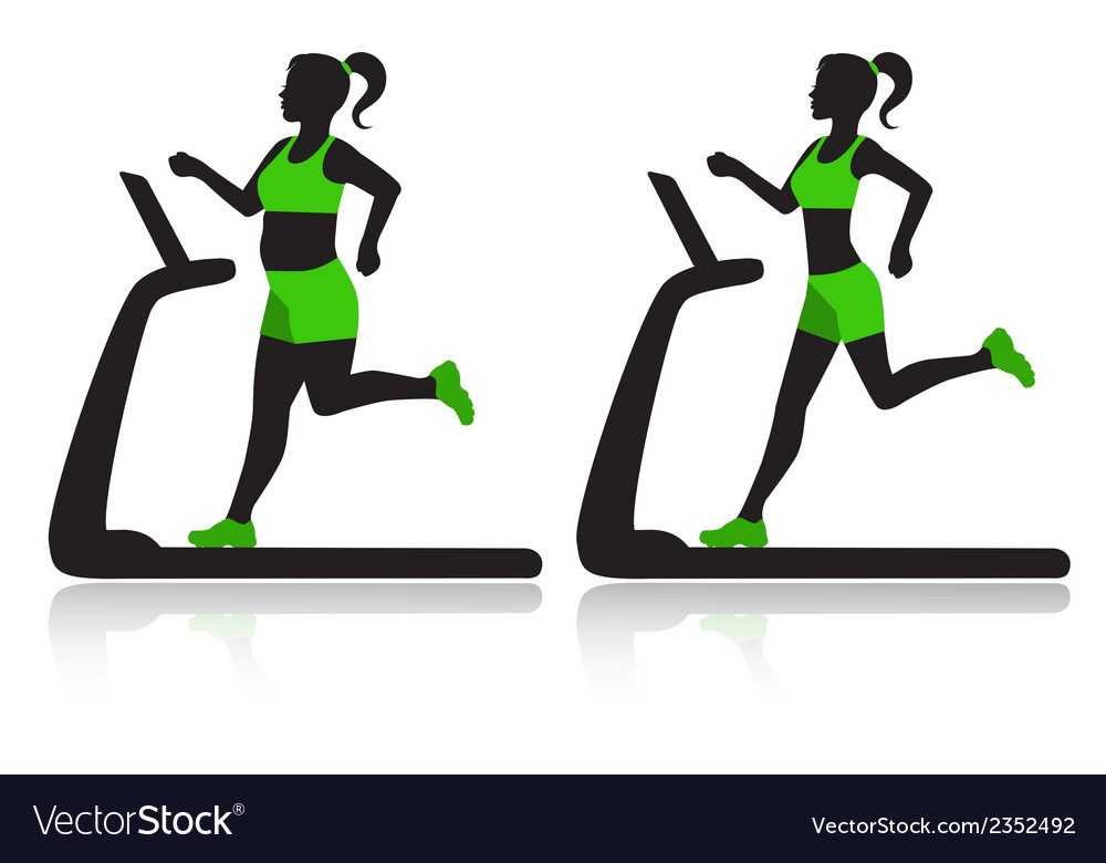 Woman on a treadmill resets overweight vector | Price: 1 Credit (USD $1)