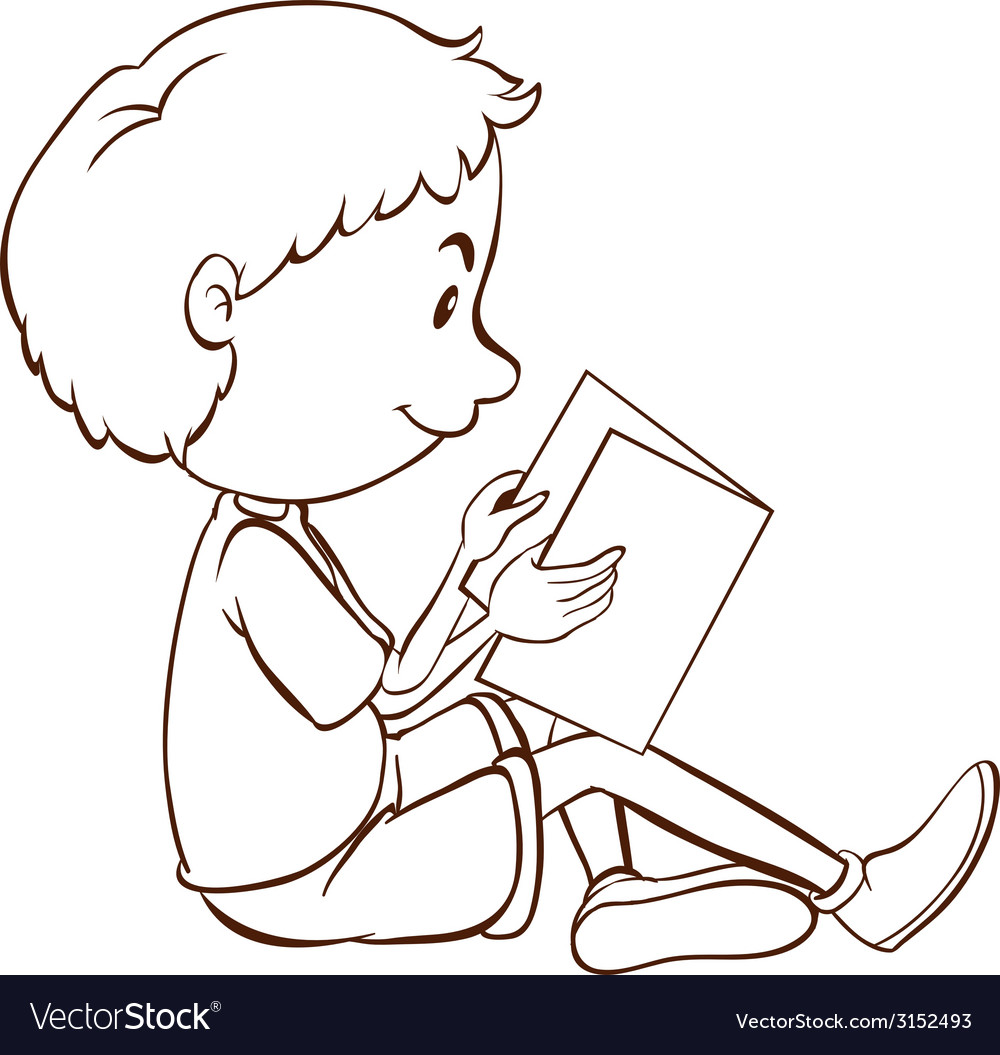 A plain sketch of a boy studying vector | Price: 1 Credit (USD $1)