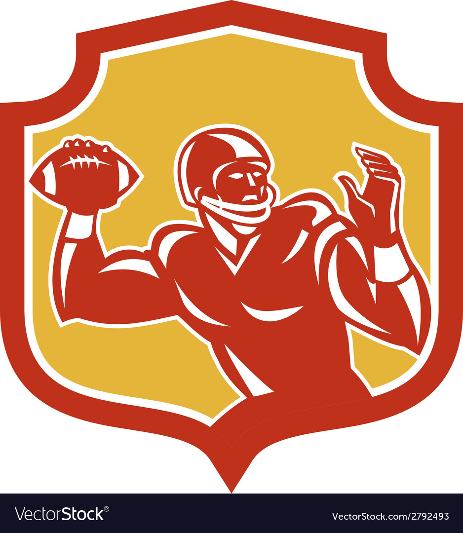 American football quarterback shield retro vector | Price: 1 Credit (USD $1)