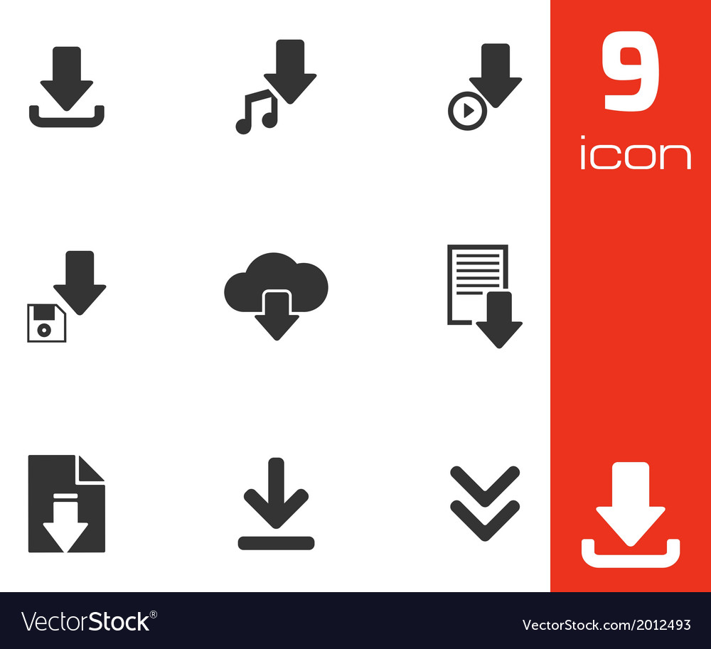 Black download icons set vector | Price: 1 Credit (USD $1)