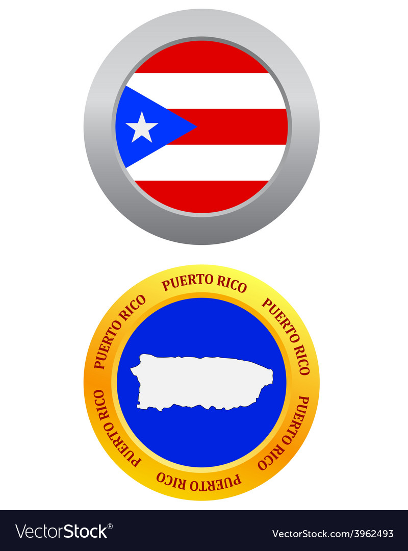 Button as a symbol puerto rico vector | Price: 1 Credit (USD $1)