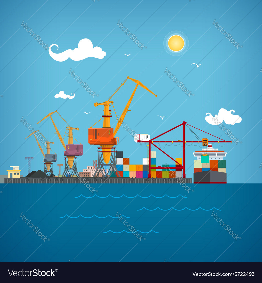 Cargo sea port vector | Price: 1 Credit (USD $1)