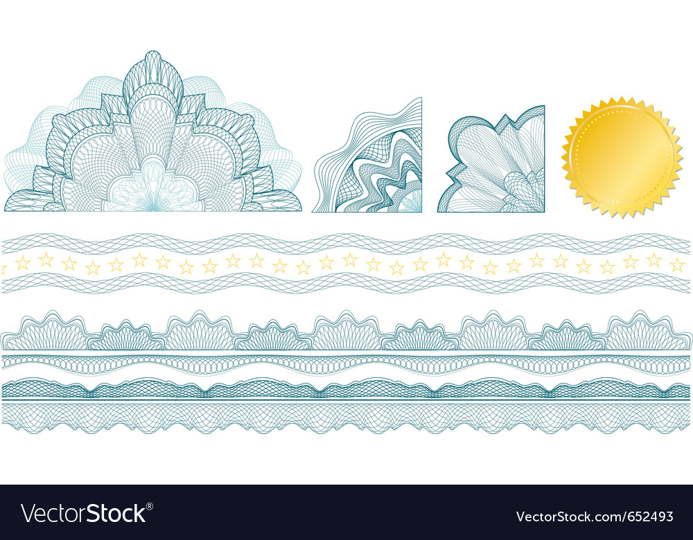 Classic guilloche elements vector | Price: 1 Credit (USD $1)
