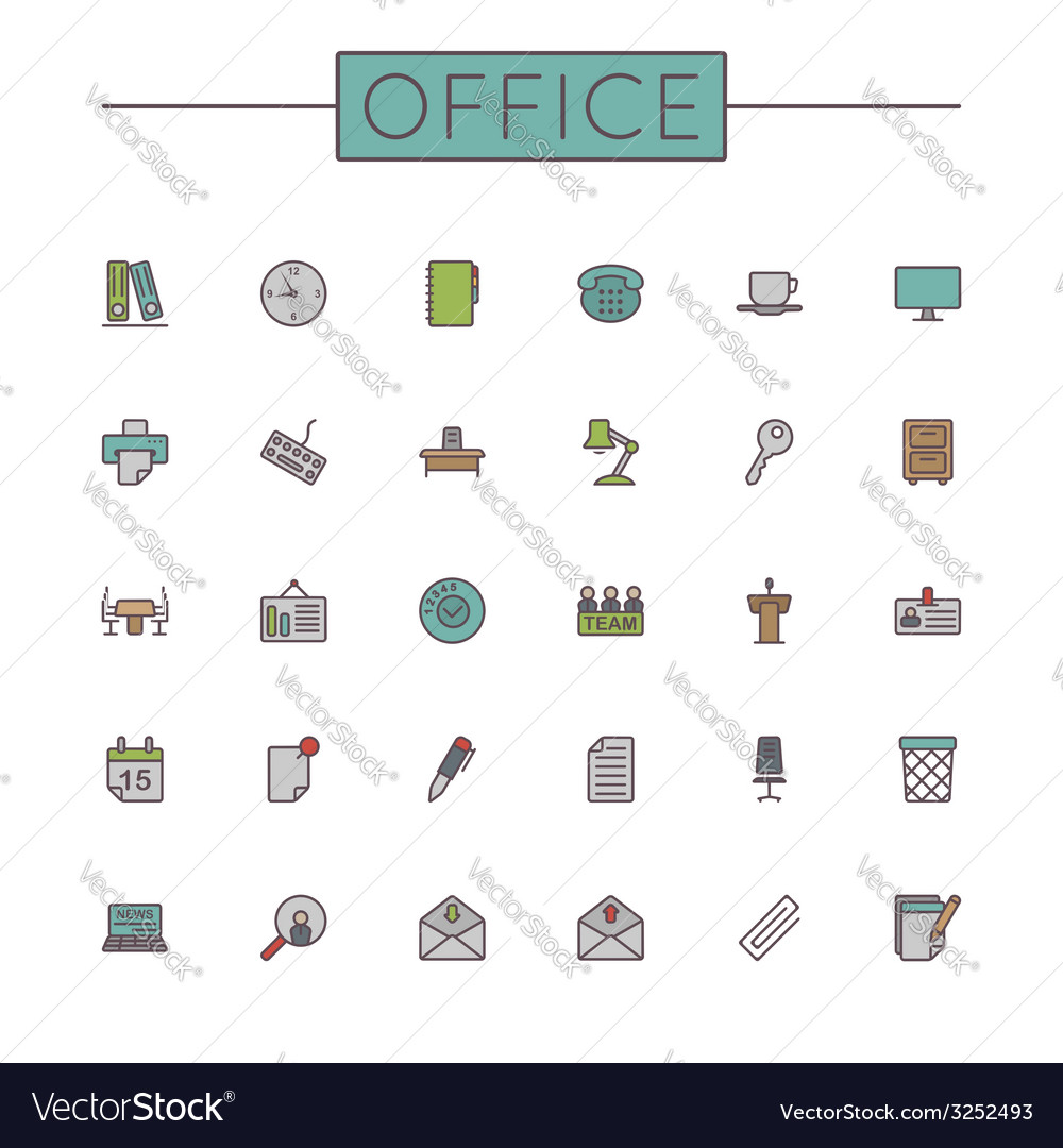 Colored office line icons vector | Price: 1 Credit (USD $1)