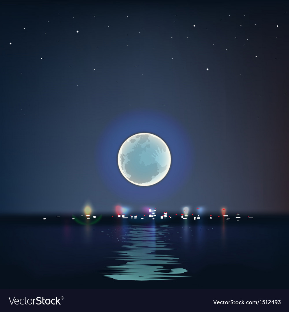 Full blue moon over cold night water vector | Price: 1 Credit (USD $1)