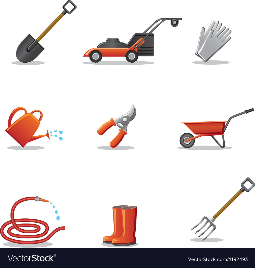 Garden tools icon set vector | Price: 3 Credit (USD $3)