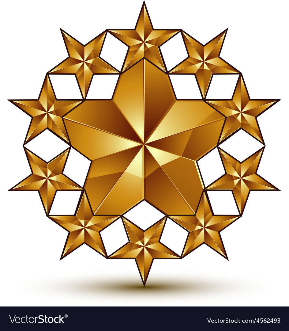 Glamorous template with pentagonal golden star vector | Price: 1 Credit (USD $1)