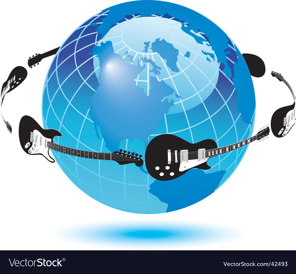 Globe guitars vector | Price: 1 Credit (USD $1)